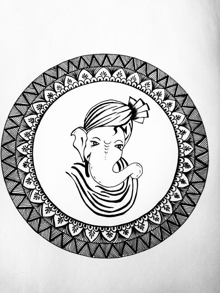 Mandala Art Work Ganesh Ji