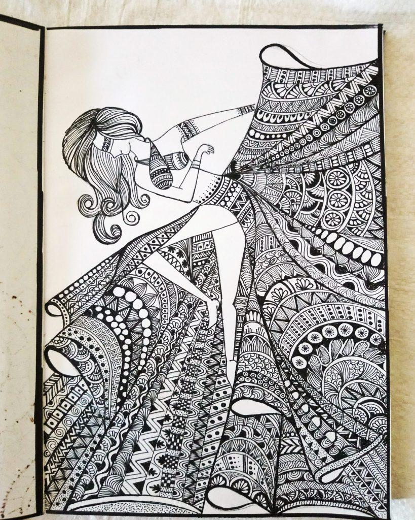 Mandala Art Work Saree